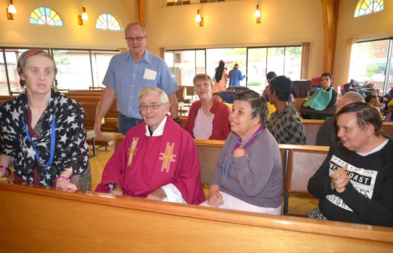 Father Leathem OMI after Mass at LITTLE EDEN
